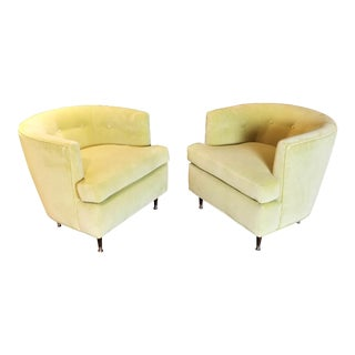 Vintage Mid Century Harvey Probber Style Walnut and Chartreuse Velvet Armchairs- A Pair For Sale