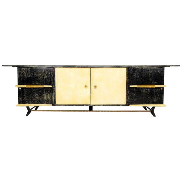 Mexican Modernist Long Credenza with Pepe Mendoza Hardware - Image 4 of 6