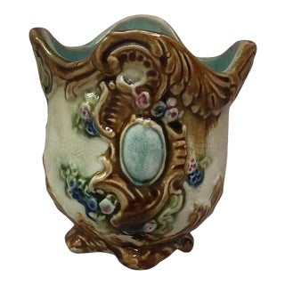 Small French Majolica Cache Pot Onnaing, Circa 1890 For Sale