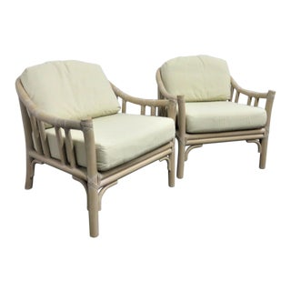 McGuire Rattan & Leather Lounge Chairs - a Pair For Sale