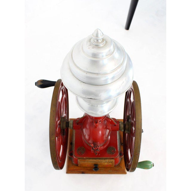 Red Large Antique Double Cast Iron Wheel Coffee Grinder Fire Red Very Clean For Sale - Image 8 of 12
