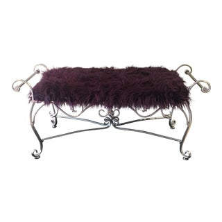 Vintage Silver Iron Scrolled & Faux Fur Bench