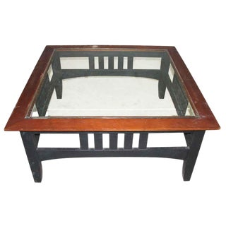 Vintage Square Glass Top Coffee Table