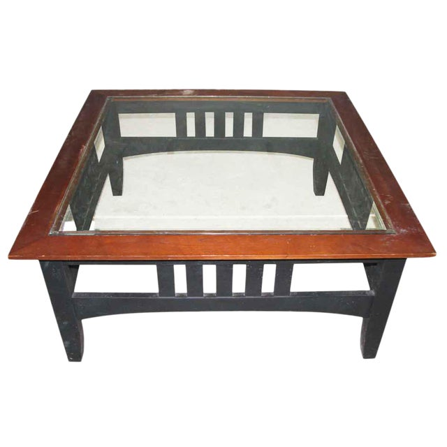Vintage Square Glass Top Coffee Table For Sale