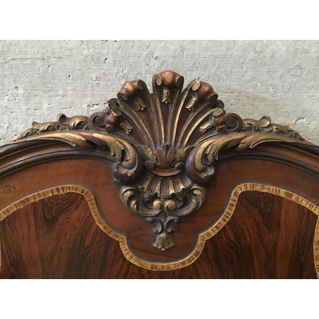 1930s Venetian Baroque Twin Marquetry & Carved Walnut Beds - A Pair For Sale - Image 10 of 11