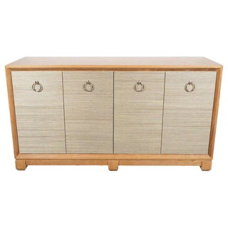 Modernist Bleached Cerused Oak and Grass Cloth Sideboard with Polished Nickel Pulls For Sale