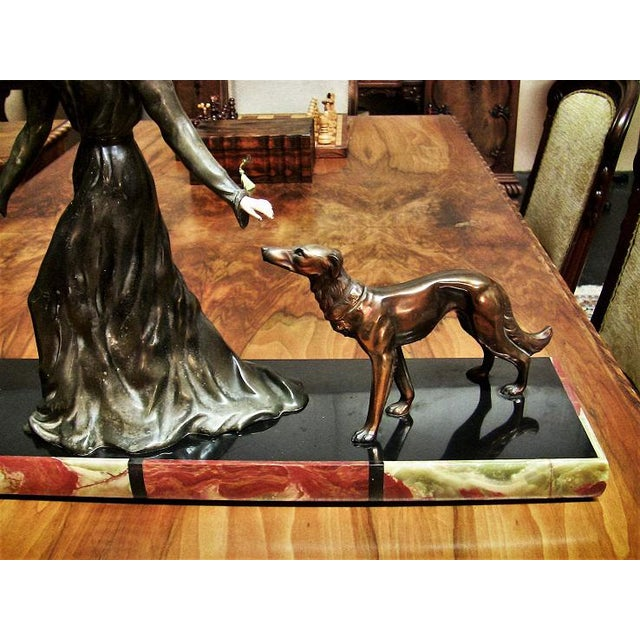 Early 20th Century Large Art Deco Sculpture of Bronze Lady With Dogs on Marble Base - Impressive and Important For Sale - Image 5 of 11