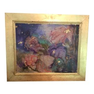 """Surreal Blooms"" Gold Framed Floral Painting For Sale"