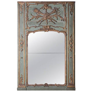19th Century Painted & Gilded Trumeau Mirror