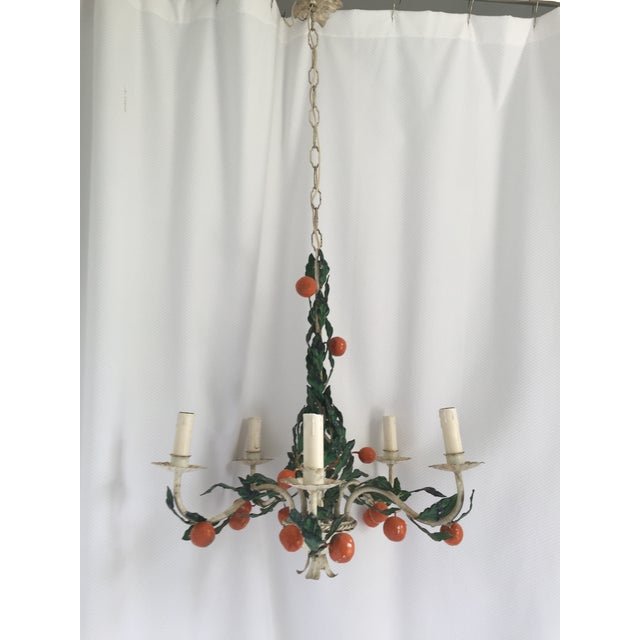Italian Italian Tole Painted Tangerine 5-Light Chandelier For Sale - Image 3 of 11
