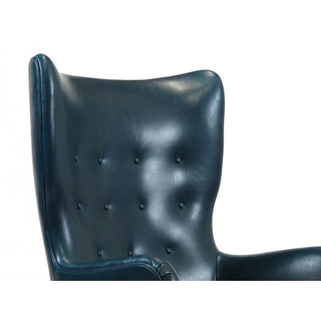 Teal 1946 Ole Wanscher for Fritz Hansen Highback Chair in Teal Leather For Sale - Image 8 of 10