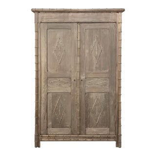 19th Century Faux Bamboo Armoire For Sale