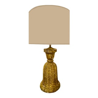 19th Century French Gilt Carved Wooden Tassel Lamp For Sale