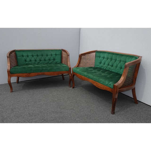 Vintage French Country Tufted Green Velvet Settee Loveseat W Cane #2 For Sale - Image 12 of 13
