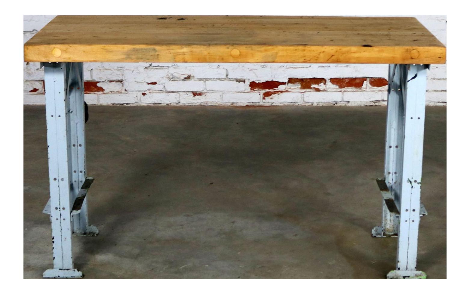 american industrial work table maple top steel base vintage vintage  u0026 used kitchen islands  u0026 butcherblocks   chairish  rh   chairish com