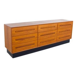 Westnofa Mid Century Teak 9 Drawer Lowboy Dresser For Sale