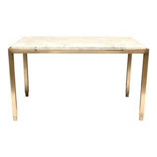 1950s French Bronze and Carrara Marble Top Side Table For Sale