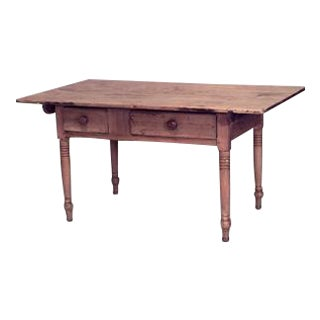 American Country (19th Cent) stripped pine plank top table desk with 2 drawers and turned legs For Sale
