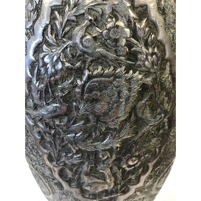 Large Islamic Hammered Copper, Inlaid Brass and Silver Repousse Vase Urn For Sale - Image 5 of 8