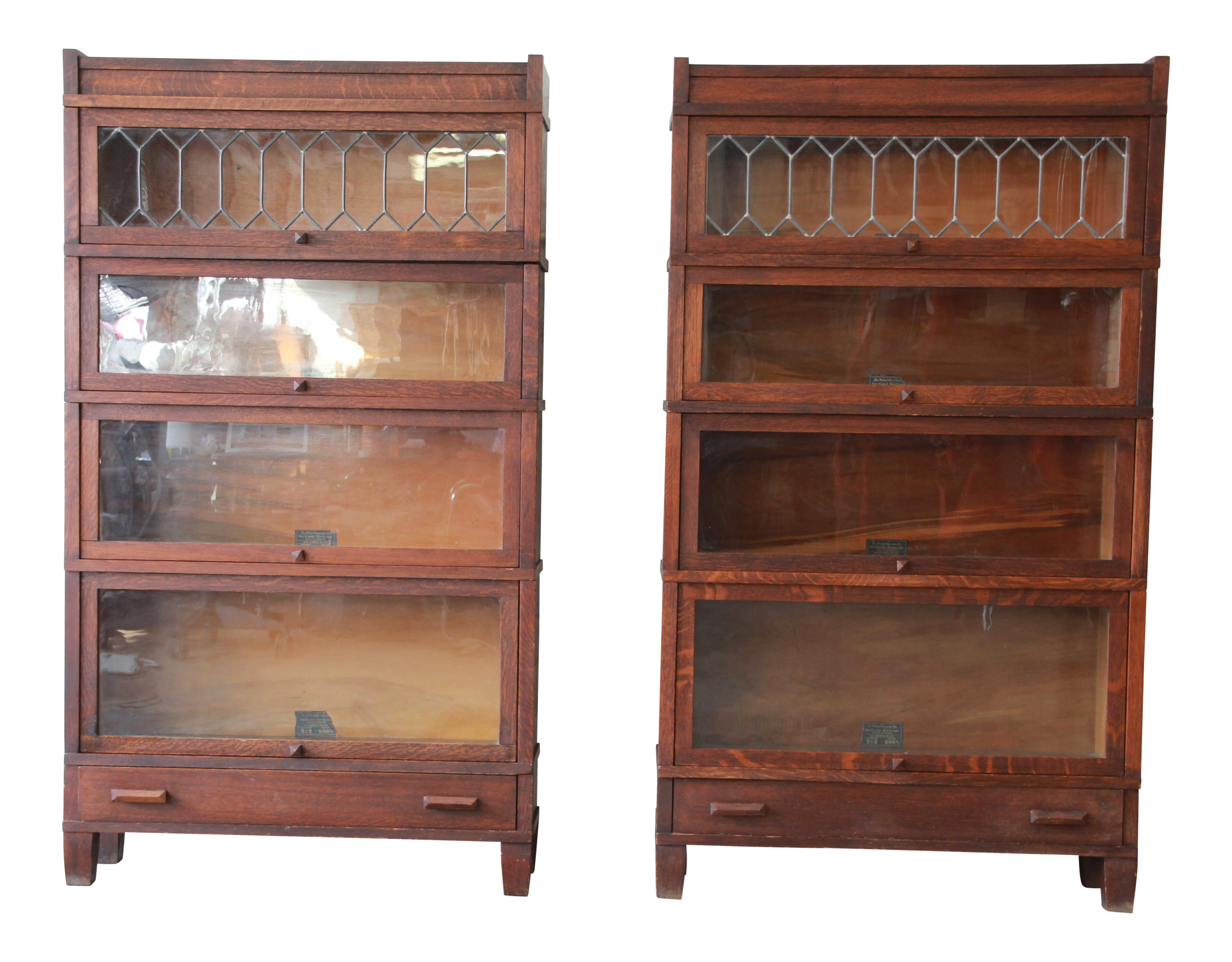 Antique Globe Wernicke Leaded Glass Door Oak Barrister Bookcases A Pair