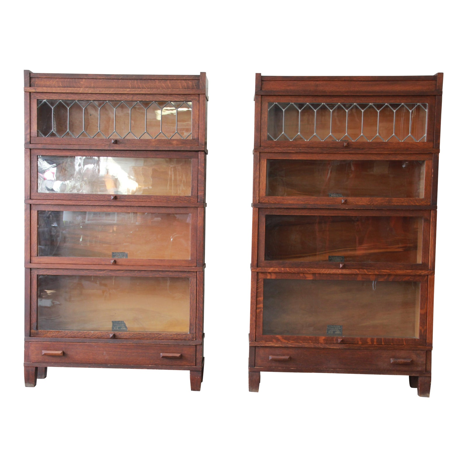 Antique Globe Wernicke Leaded Glass Door Oak Barrister Bookcases  A
