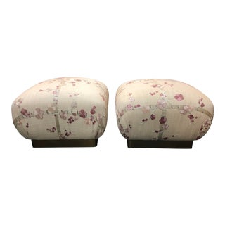 Marge Carson Cherry Blossom Vintage Ottomans, a Pair For Sale