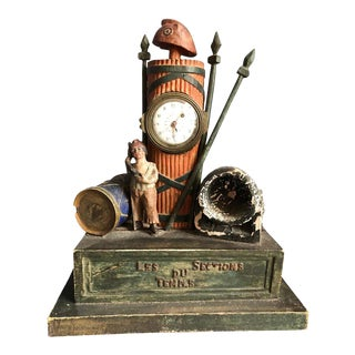 19th Century Folk Art French Revolution Clock For Sale