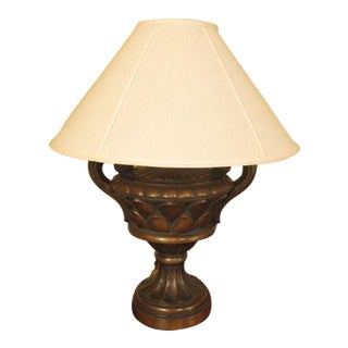 Gold & Bronze Wash Decorated Urn Lamp with Shade For Sale