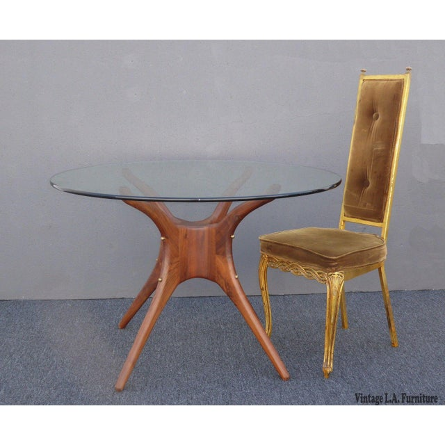 Contemporary Danish Modern Organic Modernism Carved Walnut Pedestal Glass Top Dining Table For Sale - Image 3 of 11