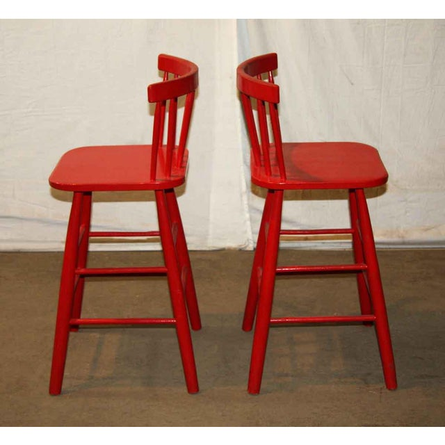 Mid-Century Red Bar Stools - A Pair - Image 2 of 4