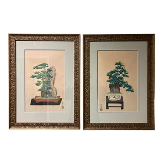Late 20th Century Botanical Japanese Woodblock Prints, Framed - a Pair For Sale