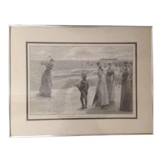 1890s Framed Genuine Print of Victorian Ladies Golfing For Sale