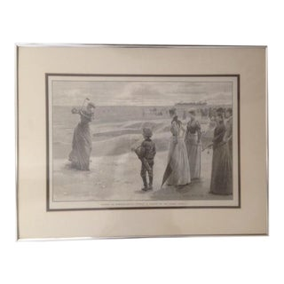 1890s Genuine Print of Victorian Ladies Golfing For Sale