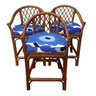 Vintage Rattan & Marimekko Seat Stools - Set of 3