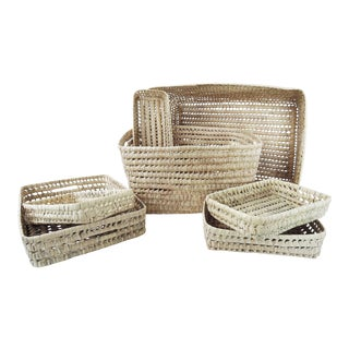 Moroccan Handmade Raffia Open Weave Storage Basket Collection- Set of 7 For Sale