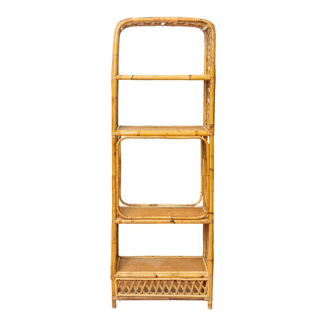 1960s Boho Chic Bamboo and Wicker Rattan Etagere For Sale