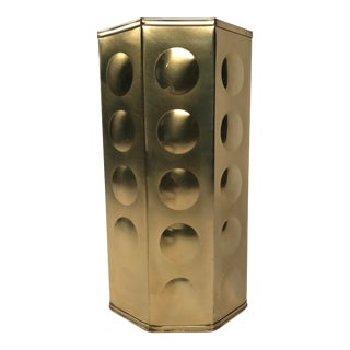 Mid Mod Brass Umbrella Stand For Sale