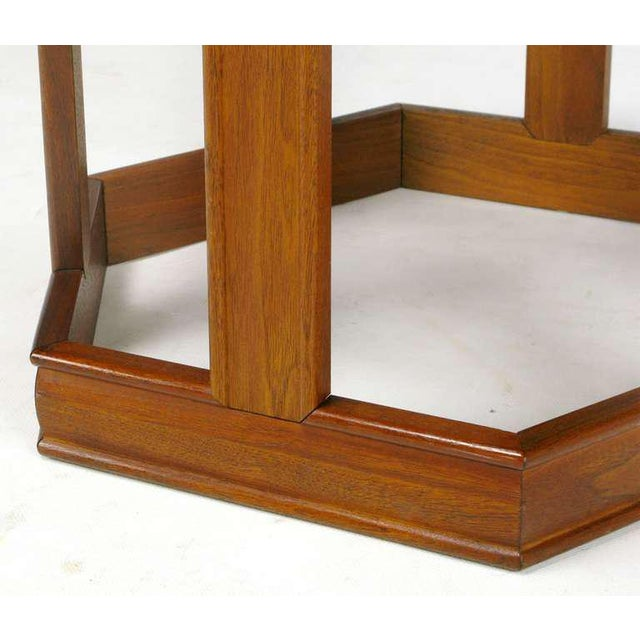 Pair Brown Saltman Walnut & Reverse Painted Glass Side Tables For Sale In Chicago - Image 6 of 9
