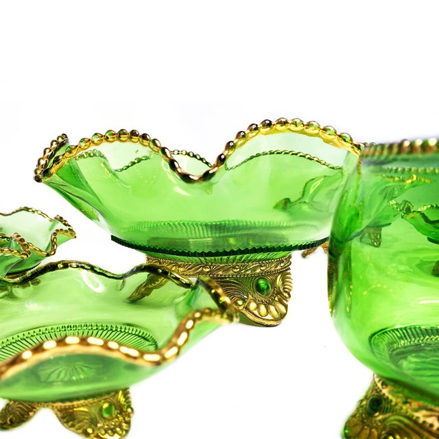 Hollywood Regency Vintage Mid-Century Russian Green Hand Blown Glass & Gold Detailed Serving Bowl Set of 8 For Sale - Image 3 of 5
