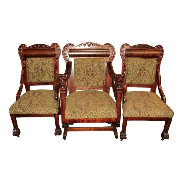 Antique Mahogany Platform Rocking Chair + 2 Side Chairs - Set of 3 - Antique Mahogany Platform Rocking Chair + 2 Side Chairs - Set Of 3