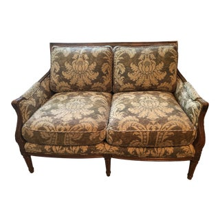 1980s Vintage Century Furniture French Style Double Cane Back Loveseat For Sale