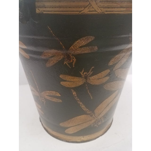 Late 19th Century English Antique Dark Green Bucket / Pail With Decoupage Dragonflies - Found in Southern England For Sale - Image 5 of 9