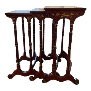 Late 19th Century Chinoiserie Nesting Tables - Set of 3 For Sale