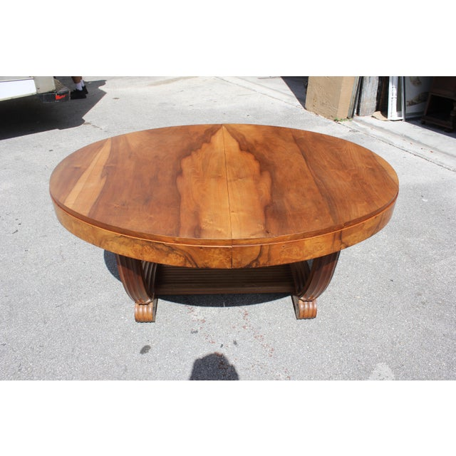 French Art Deco Solid Walnut Oval Dining Table ''U'' Legs Base Circa 1940s For Sale - Image 4 of 13