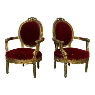 French Victorian Style Gilded Wood Chairs - a Pair For Sale