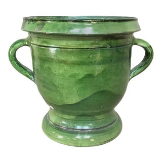 Jardiniere, 19th Century Country French Glazed Green Earthenware Pot For Sale