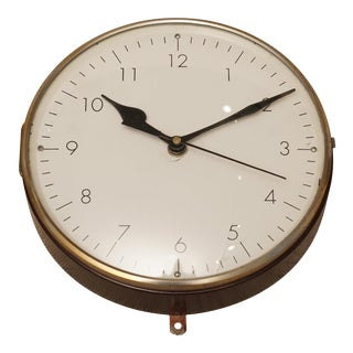 Teak and Brass Ship's Nautical Clock, 1970s For Sale