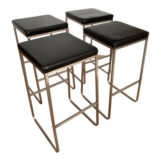 Room & Board Stainless Steel Bar Stools - Set of 4 For Sale