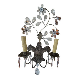 Pair of 19th Century Italian Crystal Sconces For Sale