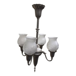 1920s Vintage Four Light Sheffield Style Nickel Light Fixture For Sale